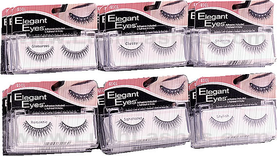Elegant Eyes False Eyelashes has six styles with rhinestones and glitters to choose from.